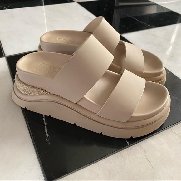 Zara Rubberized Low Heel Sports Sandals